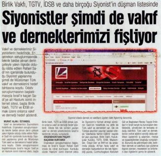 Siyonistler Şimdi de Vakıf ve Derneklerimizi Fişliyor. 21 Kasım 2011 Pazartesi