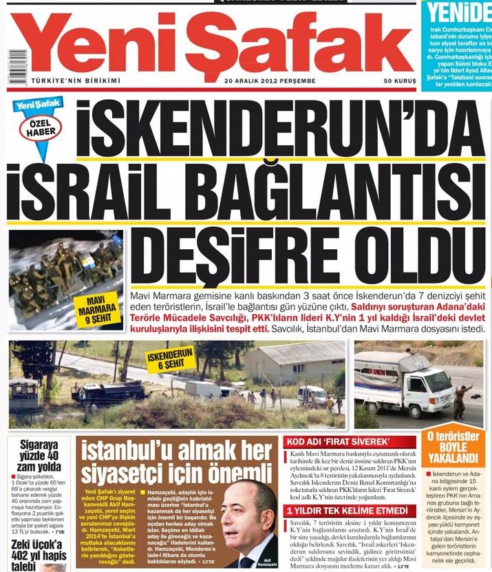 Yeni Şafak 20.12.2012 baskısı faksimilesi
