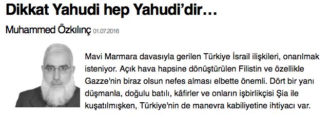 """Milat Gazetesi, """"Yeni Türkiye'nin Geleceği"""" mottosuyla okuyucusuyla buluşurken, Muhammed Özkılınç, gazetesi bünyesinde yazdığı antisemit söylemlerle Yeni Türkiye'nin ırkçı geleceği ile ilgili endişe yaratıyor. Özkılınç, yaptığı alıntılarla ırkçılığını 'sağlam zemin'e oturturken, din göndermeleri ile halkı kin ve düşmanlığa tahrik ediyor. Muhammed Özkılınç ayrıca antisemitizm ve ırkçılığın en yaygın davranışlarından birini sergileyerek, İsrail devletinin Filistin'de uyguladığı politikaları Yahudiler olarak genelleştirerek nefret söylemi üretmekte beis görmüyor."""